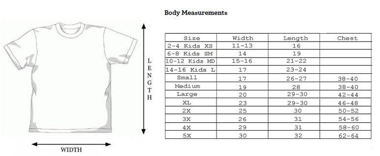Tie Dye Size Chart