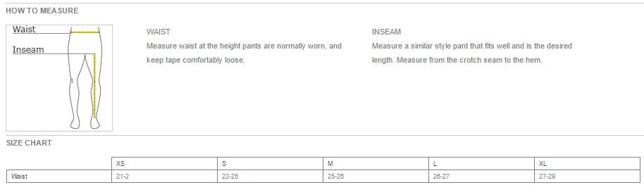 Youth Pants Size Chart