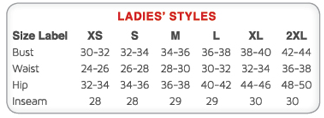 Badger Ladies Size Chart
